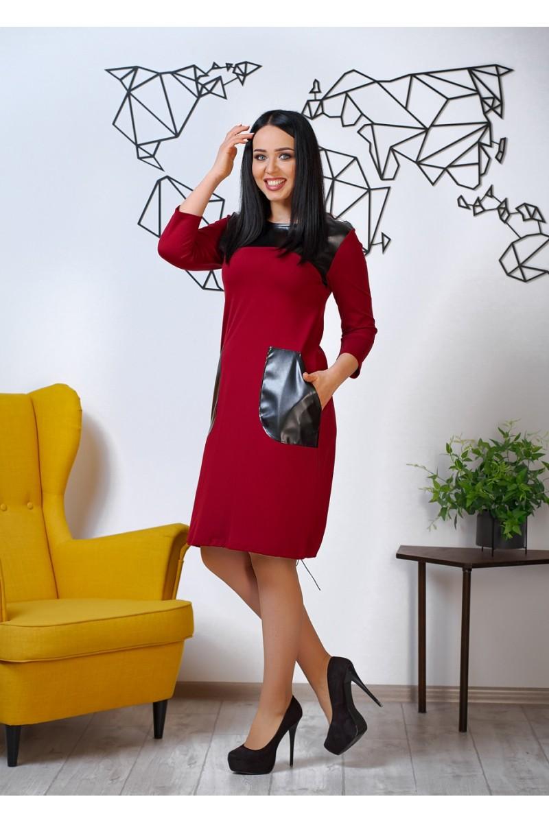 Нарядное весеннее платье 844-03 бордового цвета