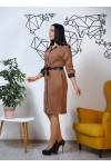 Нарядное весеннее платье 846-01 коричневого цвета