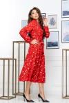 Нарядное весеннее платье 850-03 красного цвета