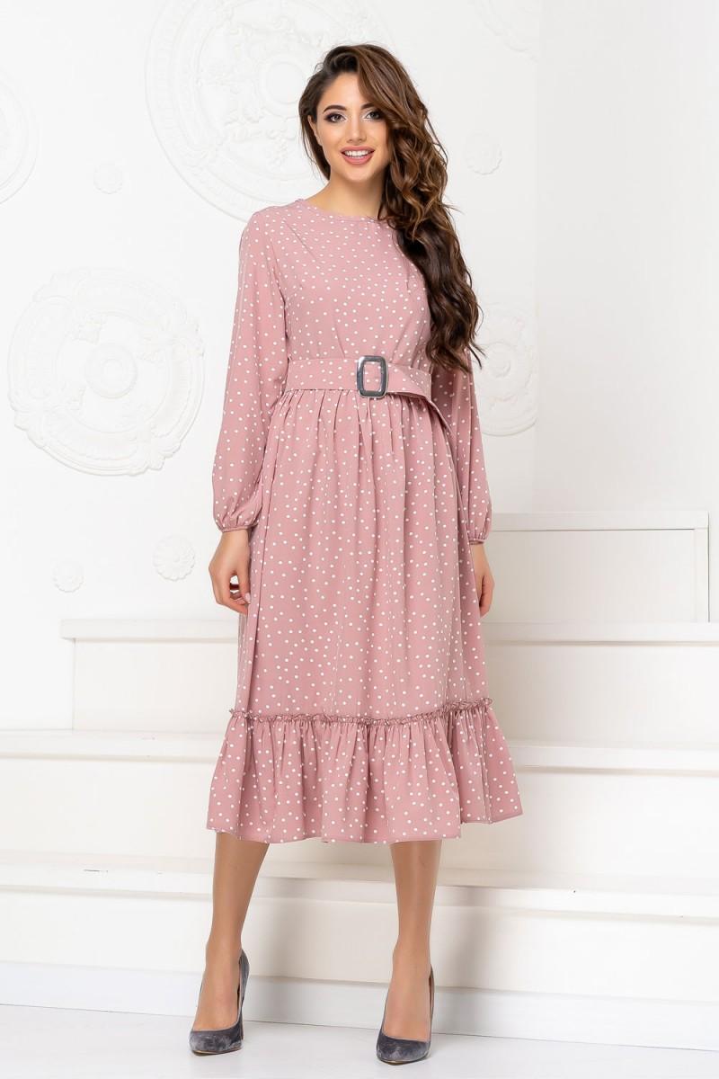 Нарядное весеннее платье 849-03 розового цвета