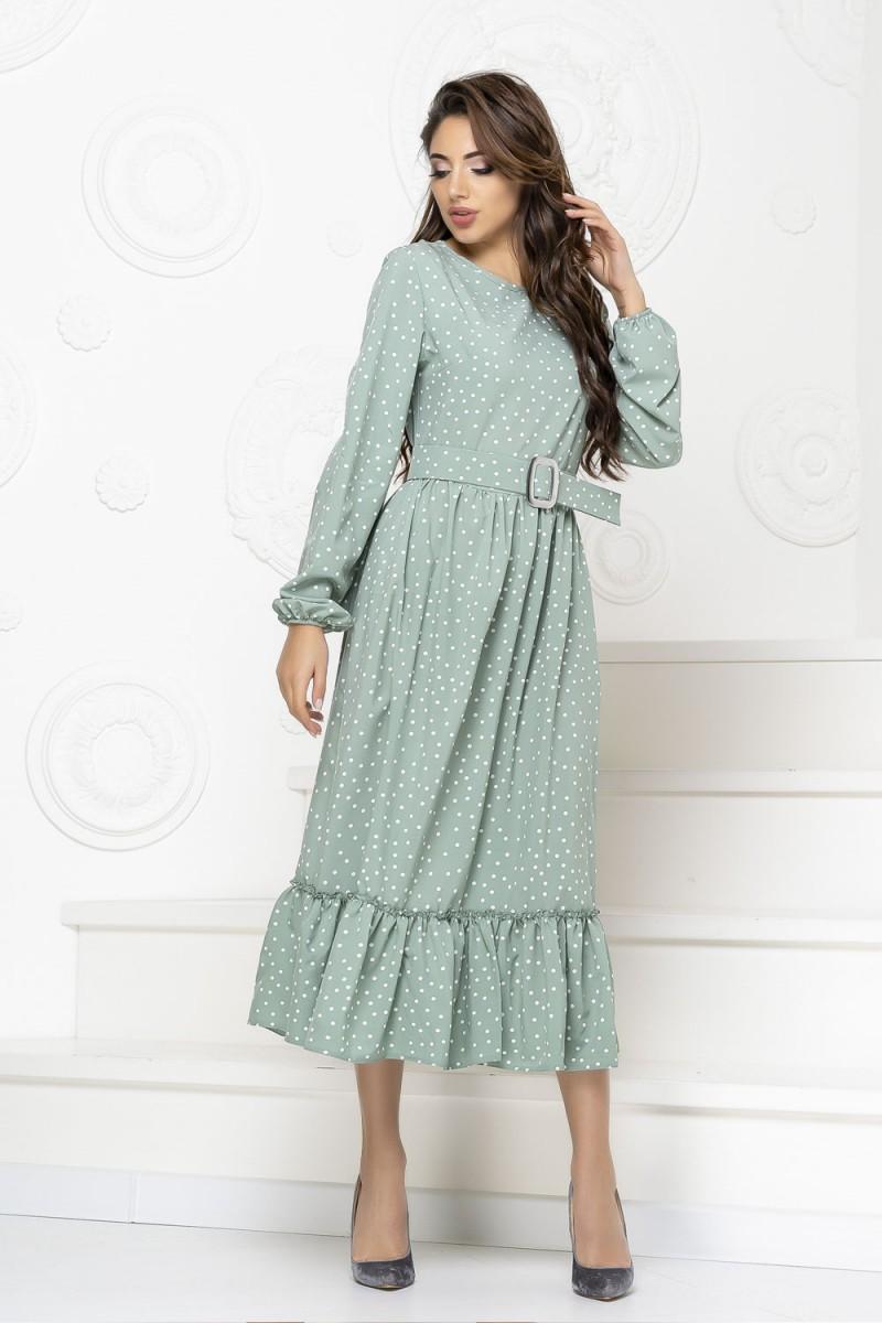 Нарядное весеннее платье 849-02 голубого цвета