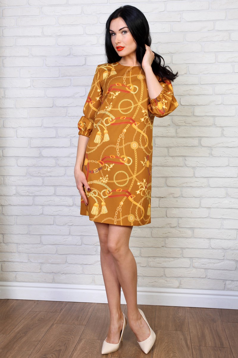 Платье 774-01 цвет горчичный принт