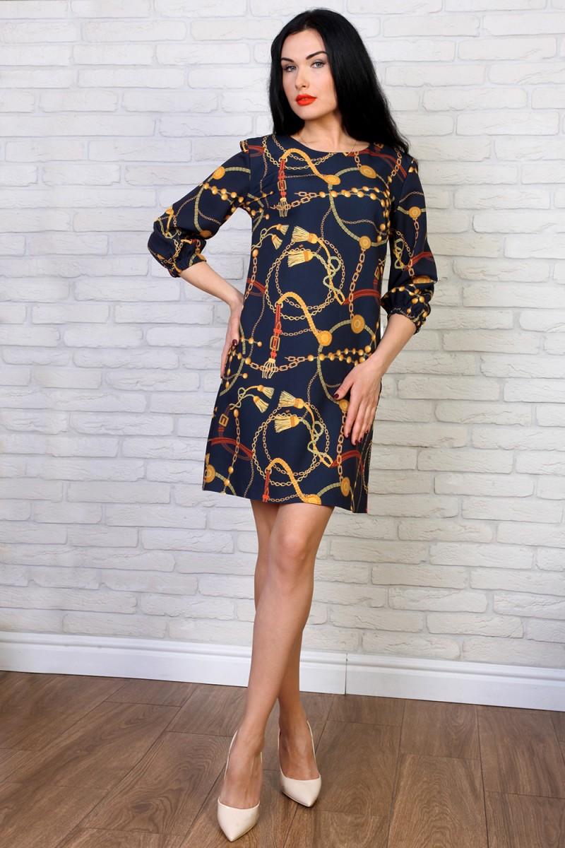 Платье 774-02 цвет темно-синий принт