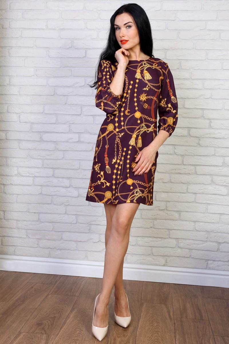 Платье 774-03 цвет бордовый принт