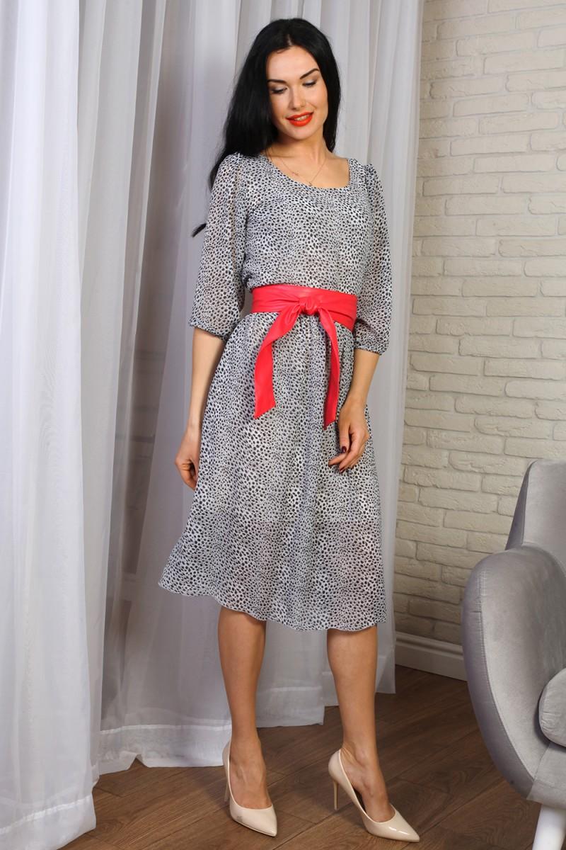 Платье 777-02 цвет серый с красным поясом