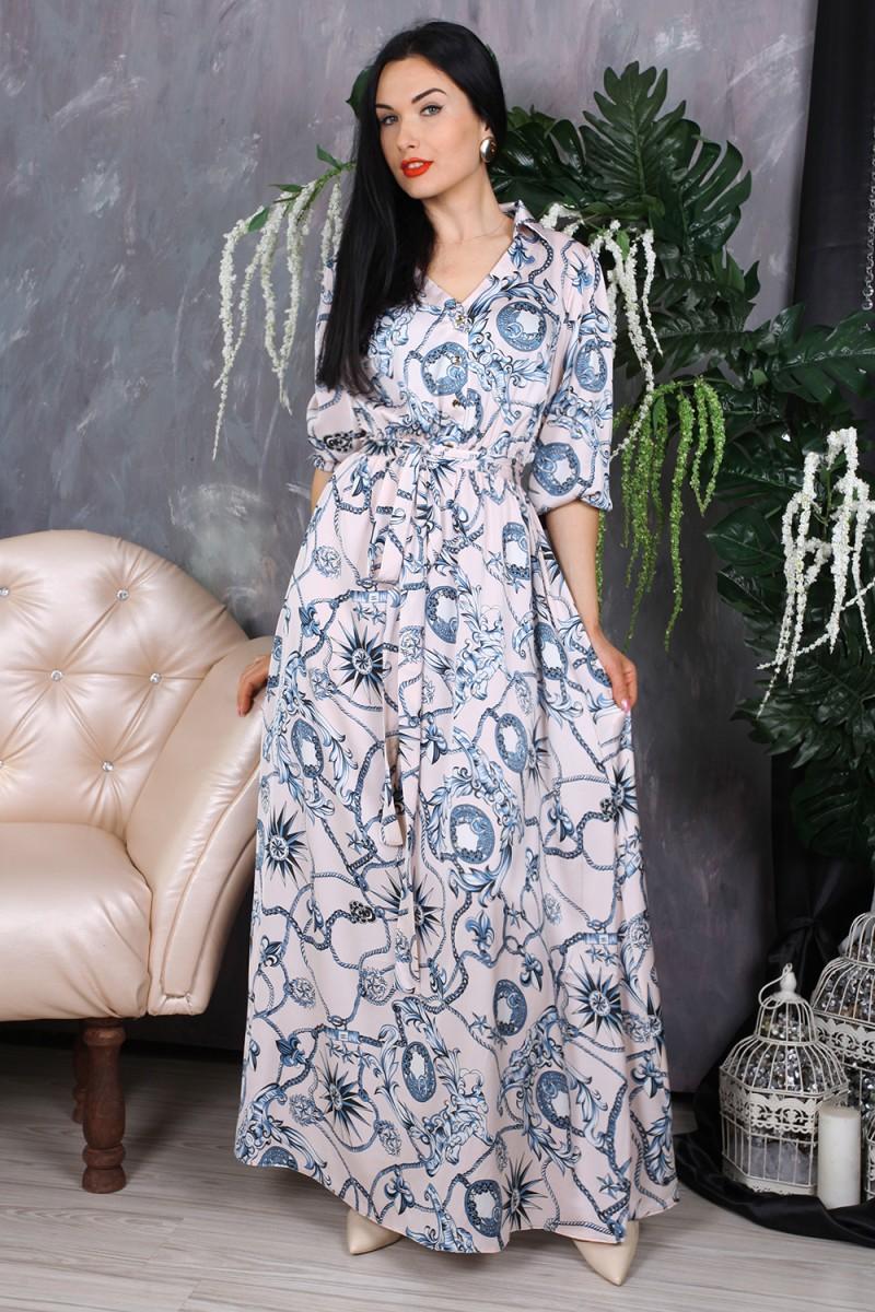 Платье 780-02 цвет голубой с принтом