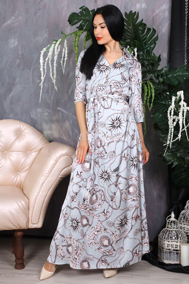 Платье 780-01 цвет белый с принтом