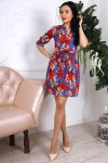 Платье 781-01 цвет синий с принтом цветы