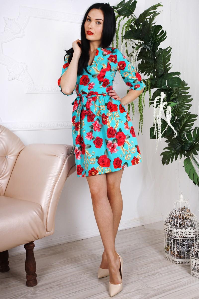 Платье 781-02 цвет бирюзовый с принтом цветы