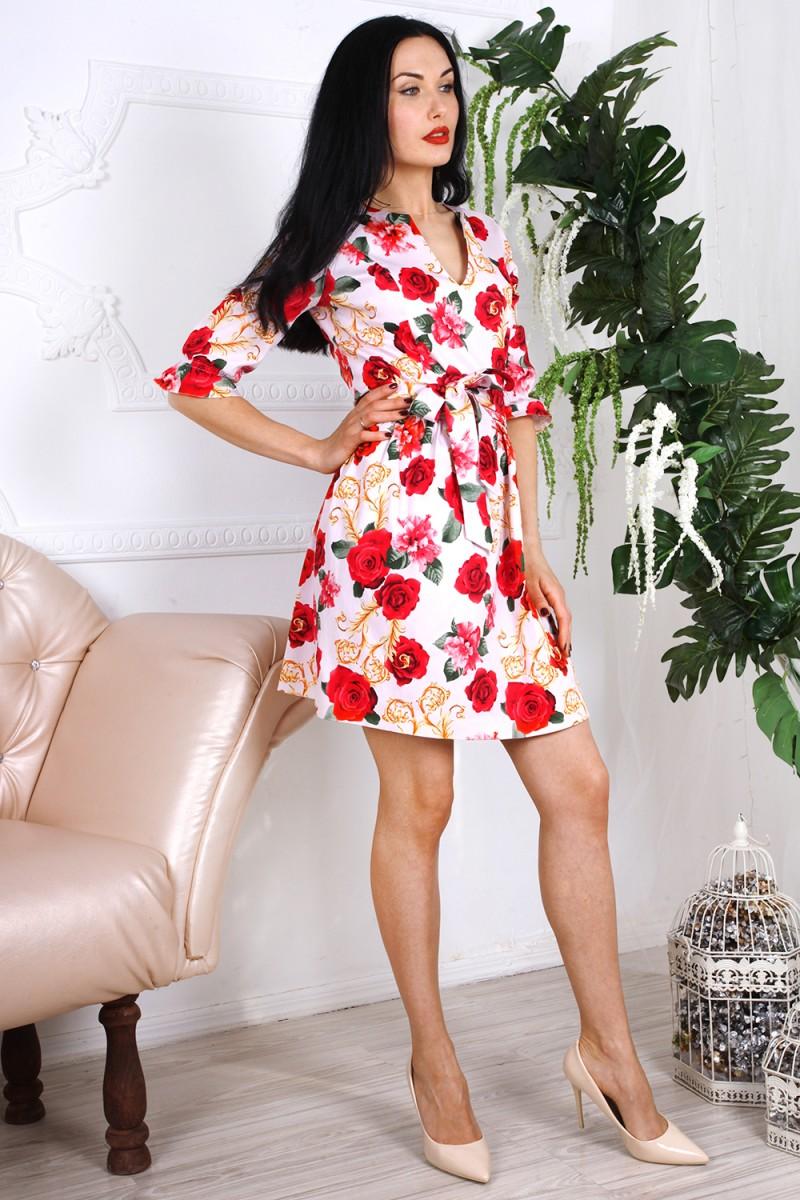 Платье 781-03 цвет белый с принтом цветы