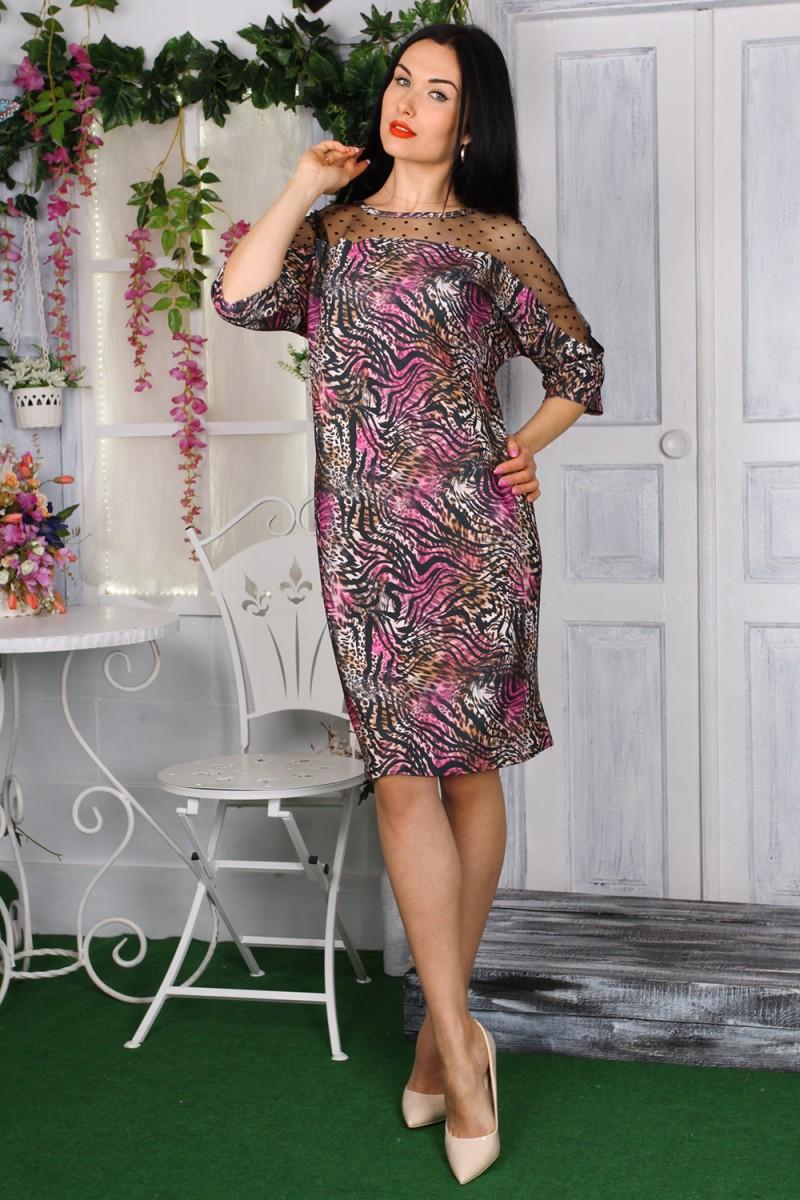 Платье 782-01 цвет розовый с принтом
