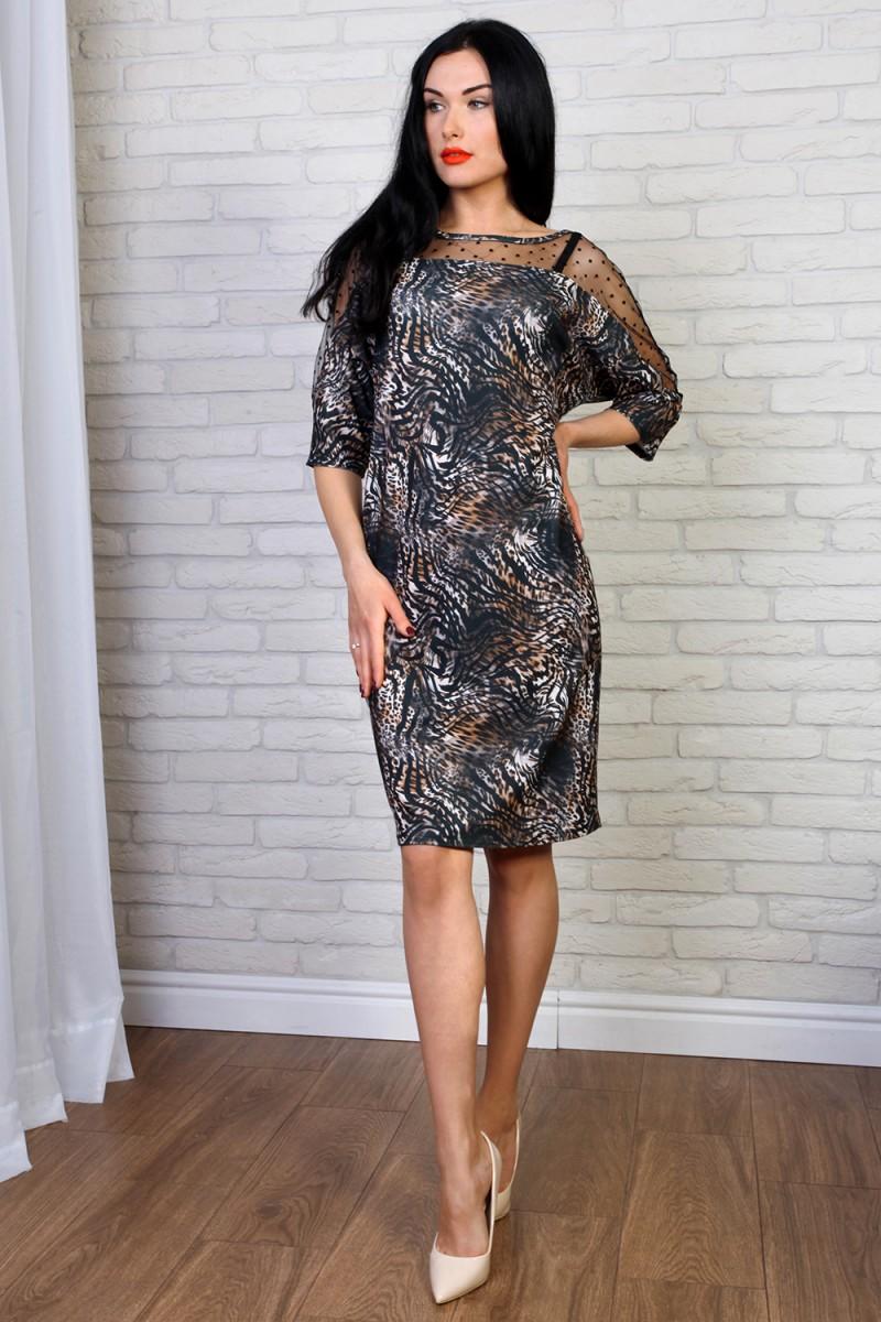 Платье 782-03 цвет темно-серый с принтом