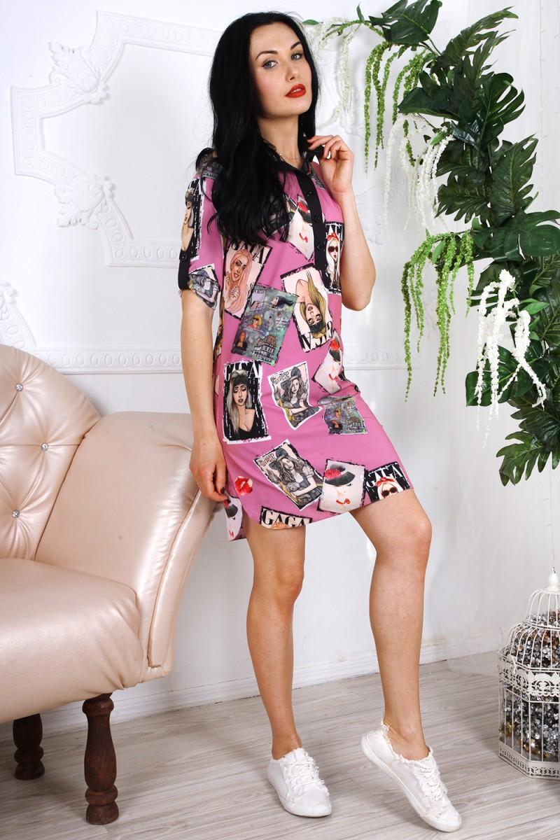 Платье 783-01 цвет розовый с принтом