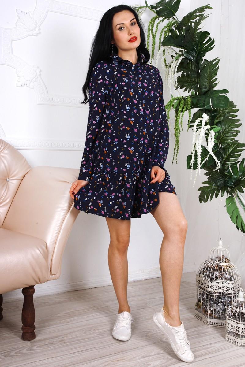 Платье 785-01 цвет синий с принтом цветы