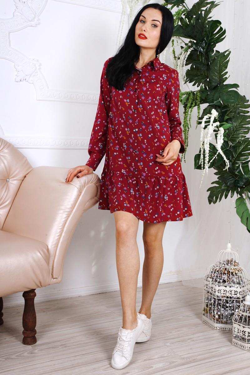 Платье 785-02 цвет бордовый с принтом цветы