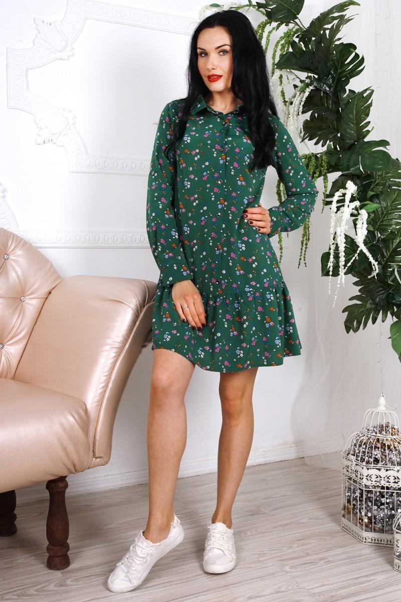 Платье 785-03 цвет зеленый с принтом цветы