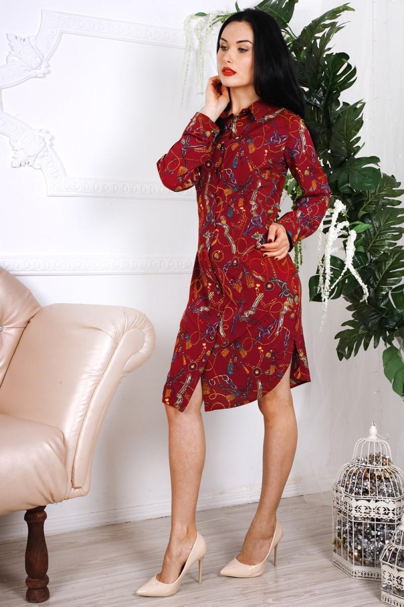 Платье 786-01 цвет бордовый с абстрактным принтом