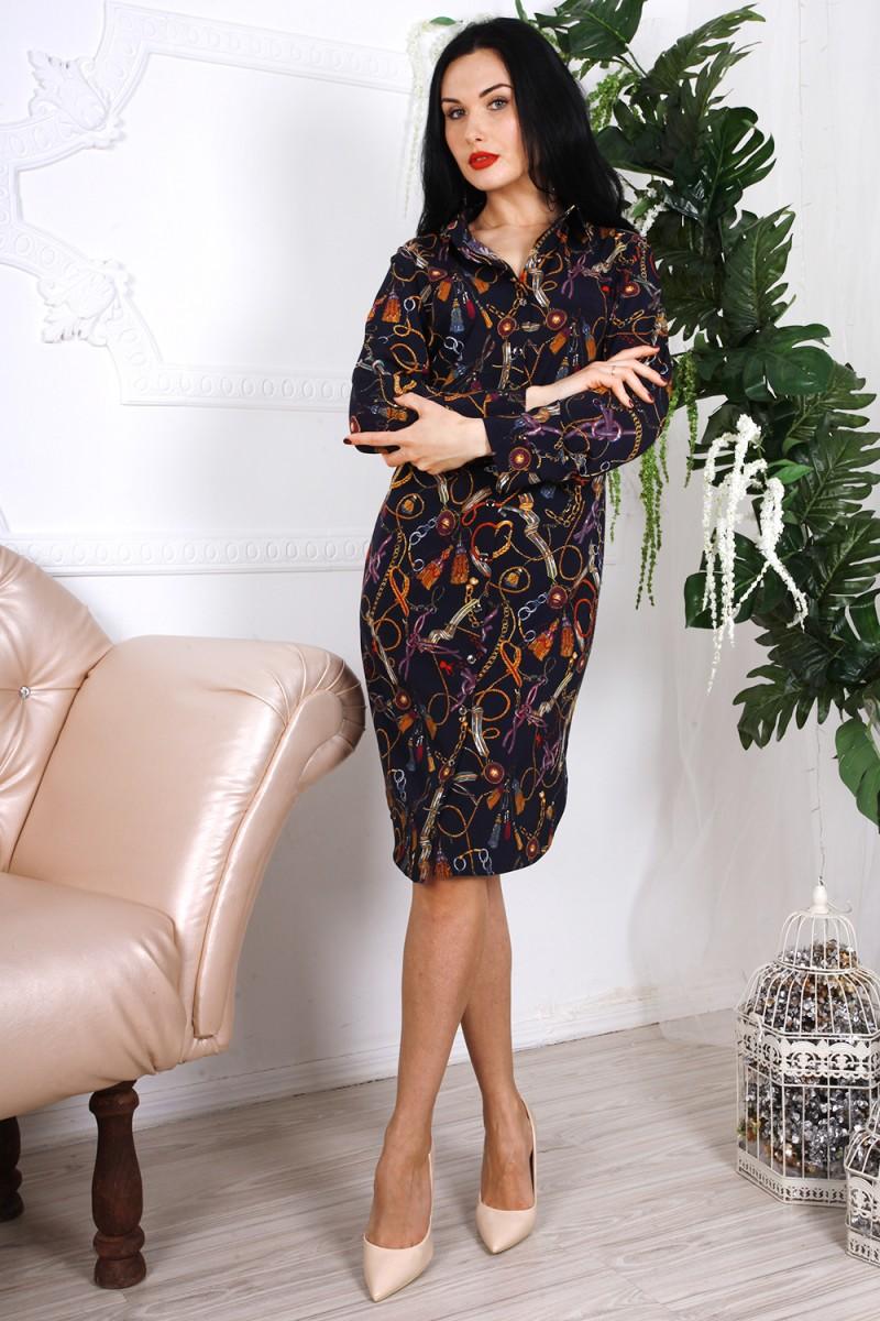 Платье 786-02 цвет черный с абстрактным принтом
