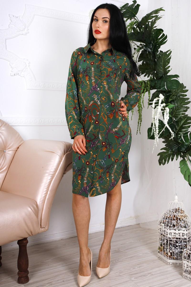 Платье 786-03 цвет зеленый с абстрактным принтом