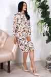Платье 786-04 цвет белый с абстрактным принтом