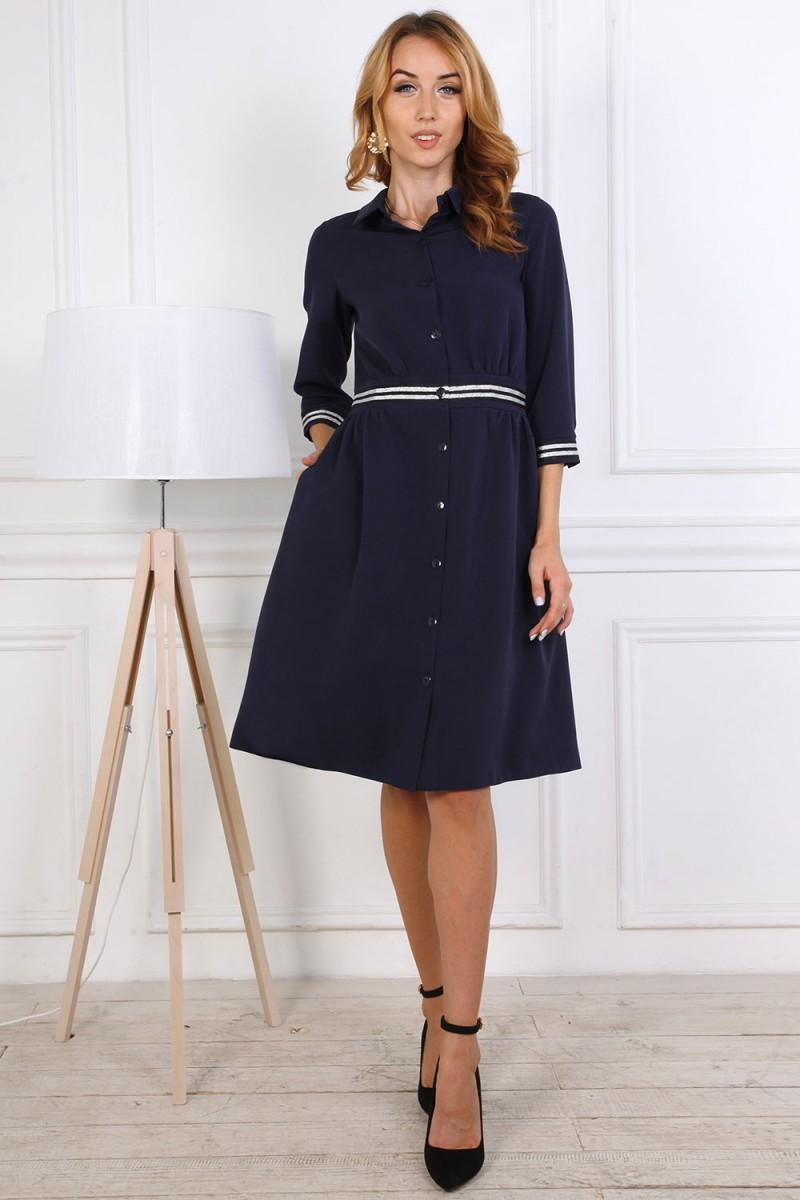 Платье от производителя 807-03 темно-синего цвета
