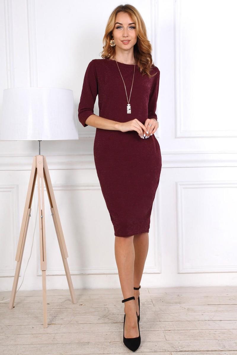 Нарядное платье от производителя 808-03 цвет бордовый