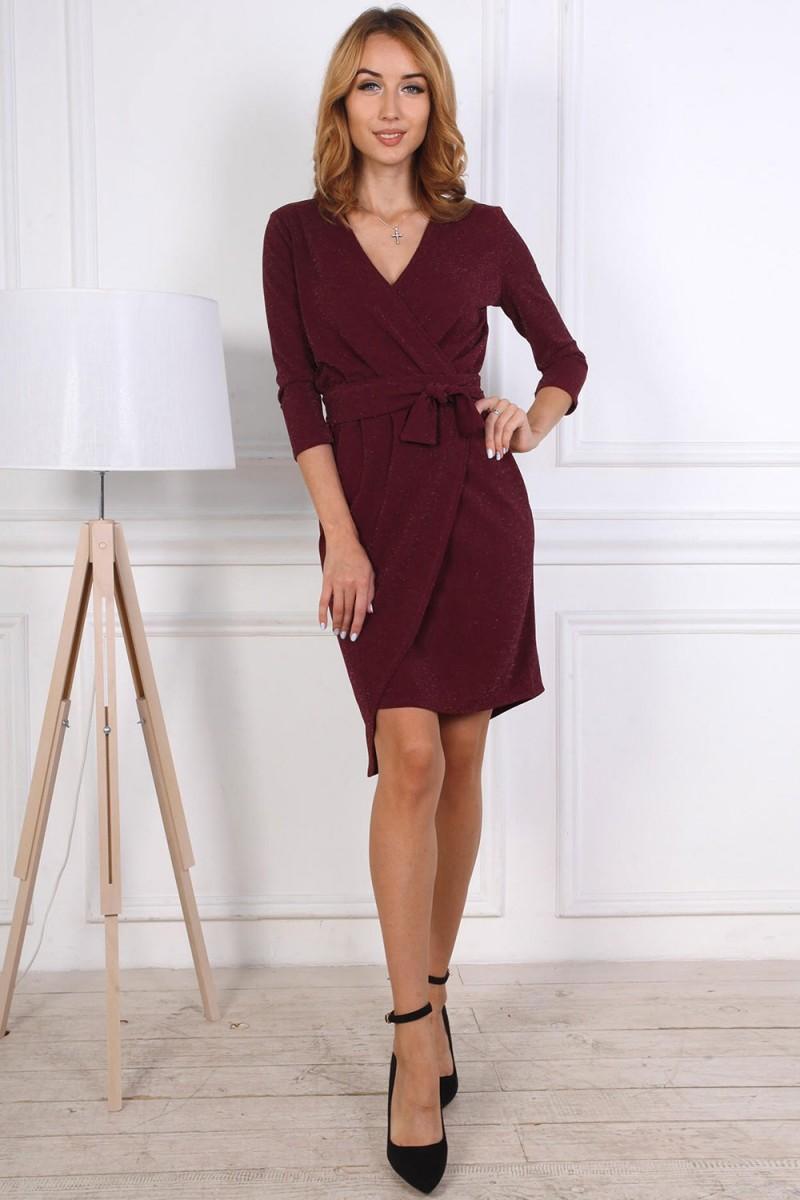 Нарядное платье от производителя 809-04 цвет бордовый