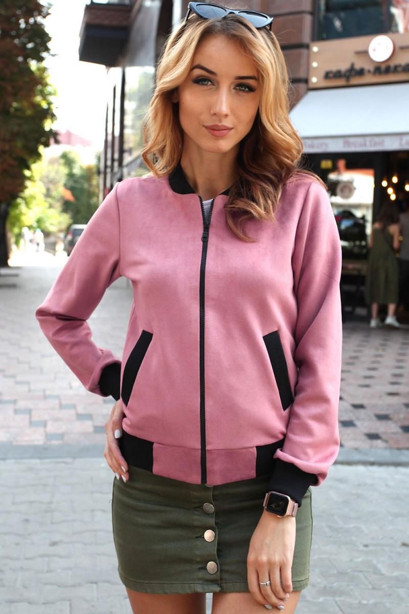 Бомбер женский 810-05 розового цвета