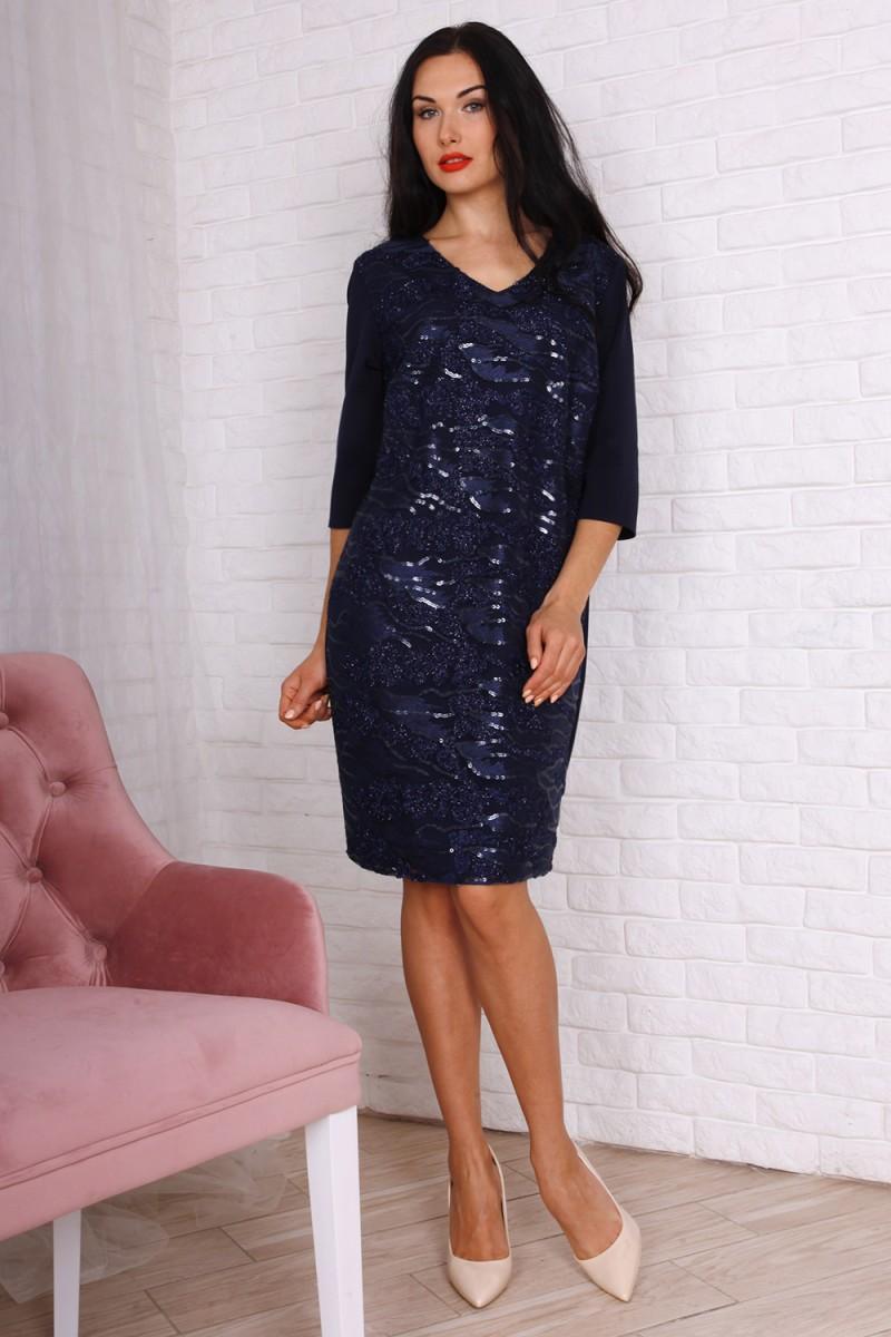Платье полубатал код 757-02 цвет синий