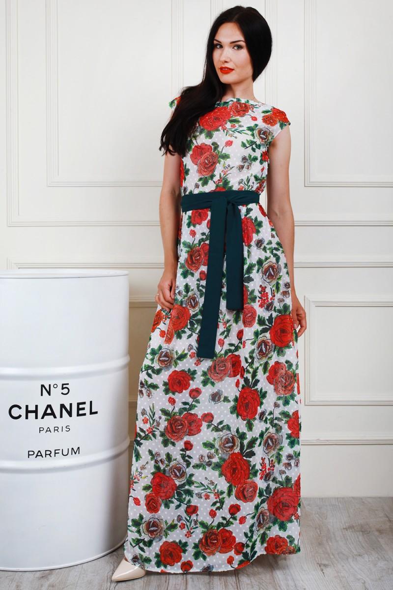 Платье 698-04 цвет молочный/красный