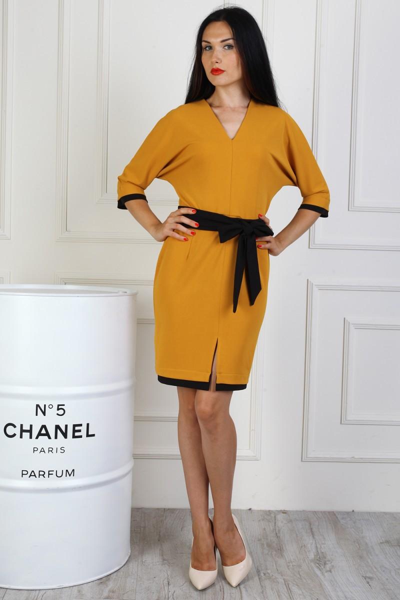 Платье полубатал 714-02 цвет горчица