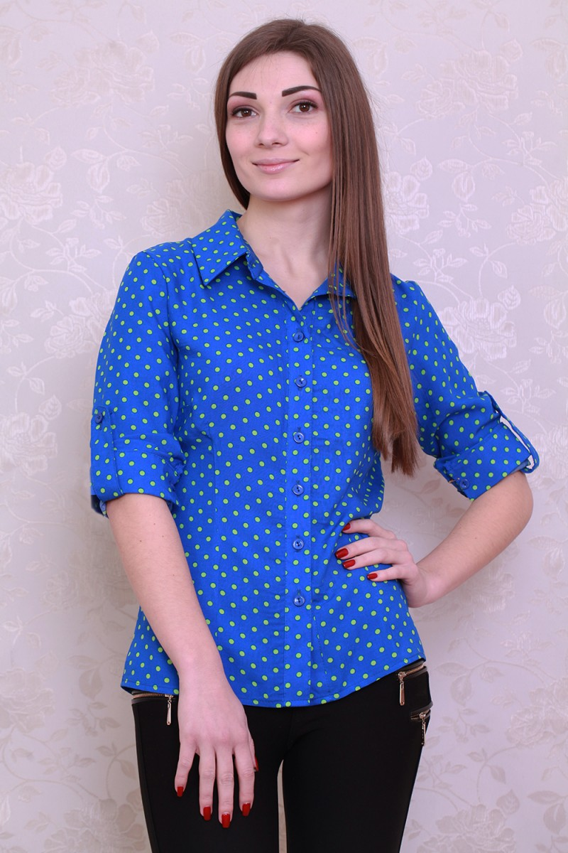 Рубашка 425-02 цвет электрик/салатовый