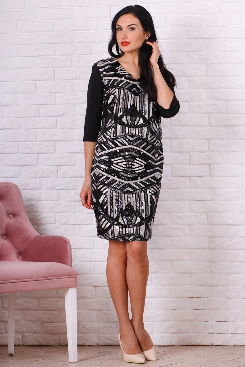 Платье полубатал 757-04 цвет черно белый