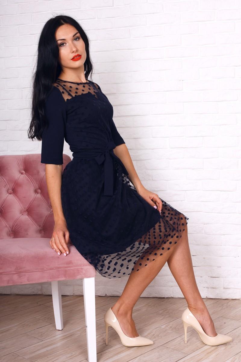 Платье 752-02 цвет синий