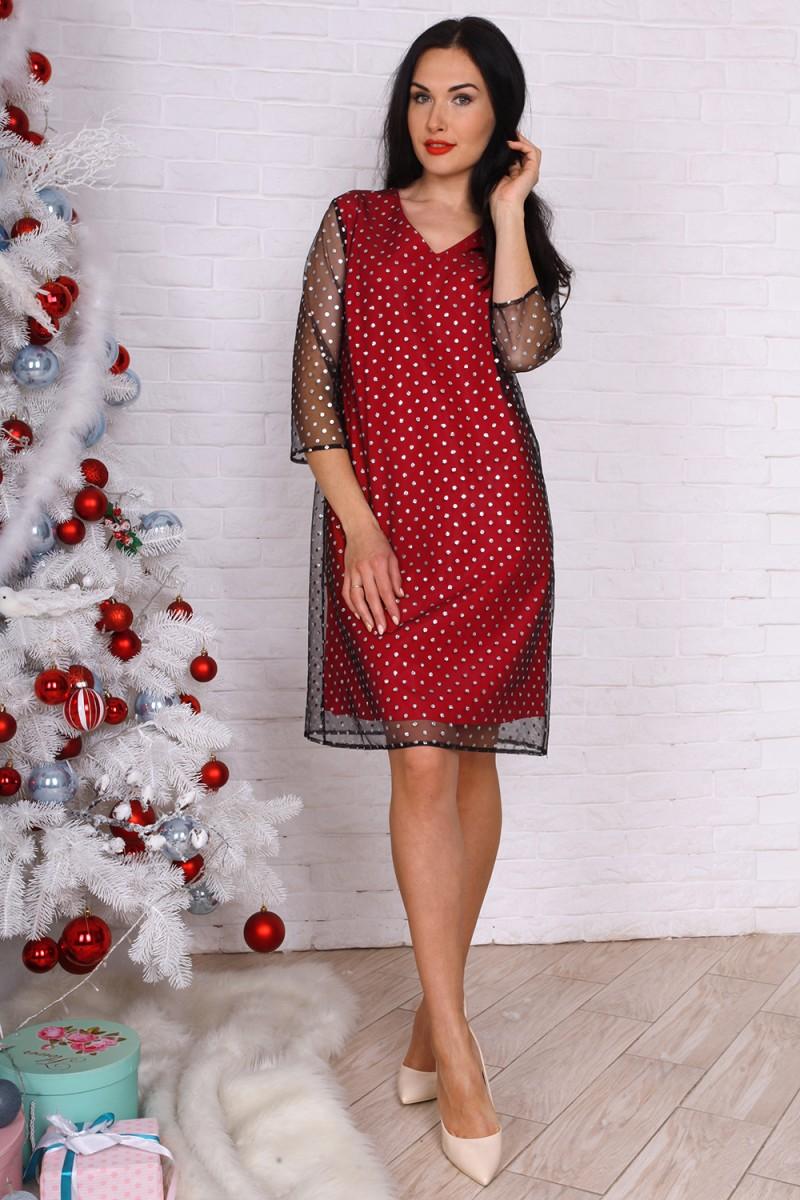 Платье полубатал 761-01 цвет красный
