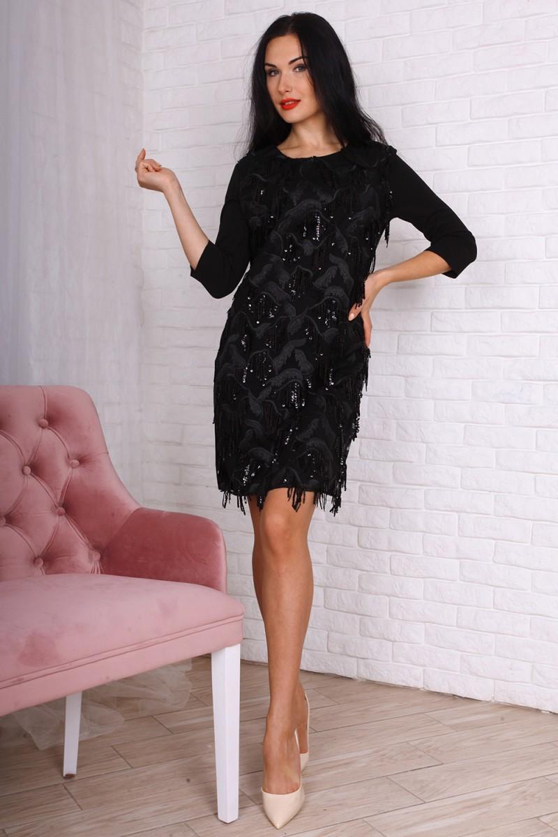 Платье код 759-01 цвет черный