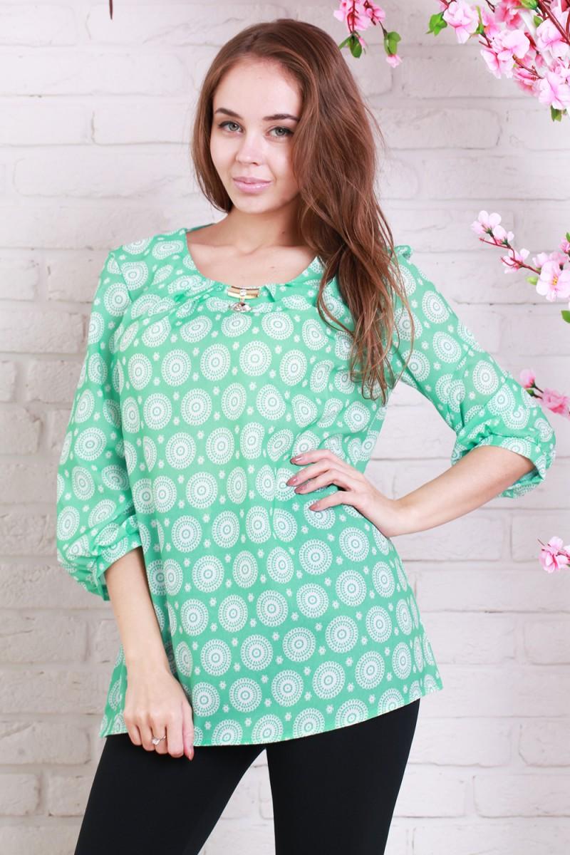 Блуза батал 453-01 цвет мятный/белый