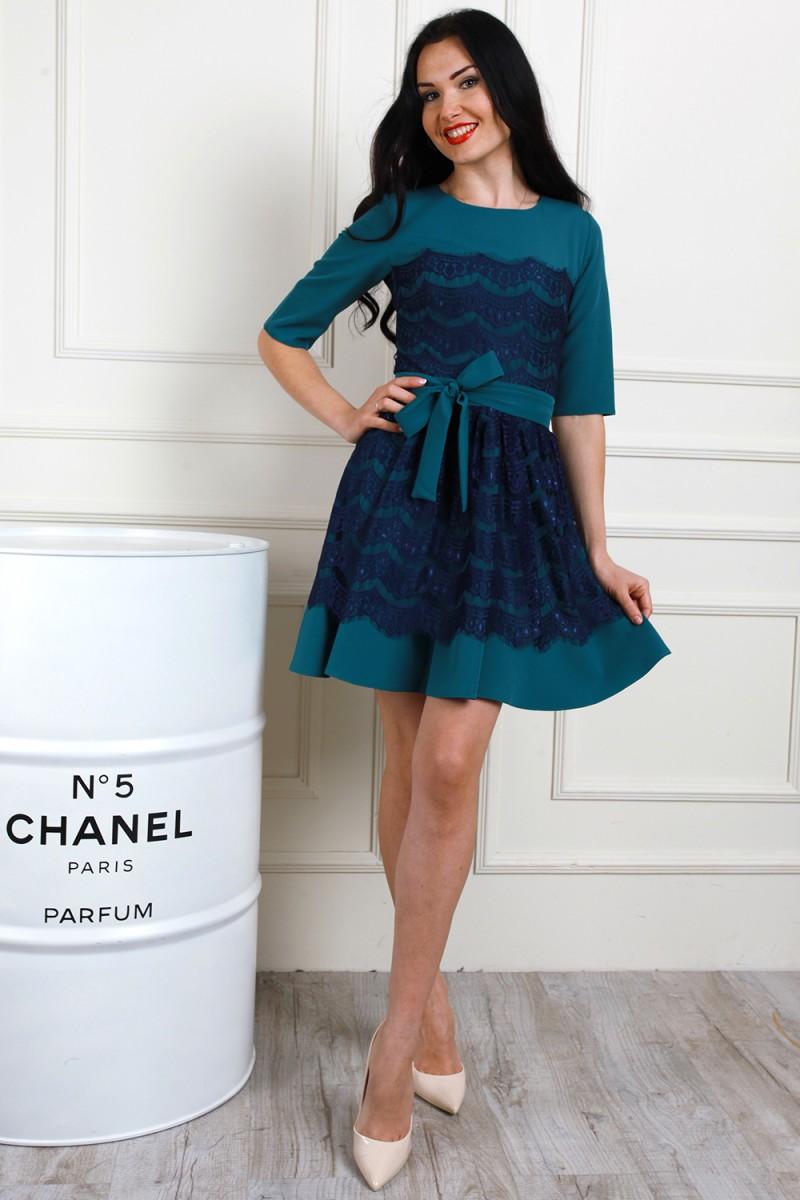 Платье 655-01 цвет морская волна/синий
