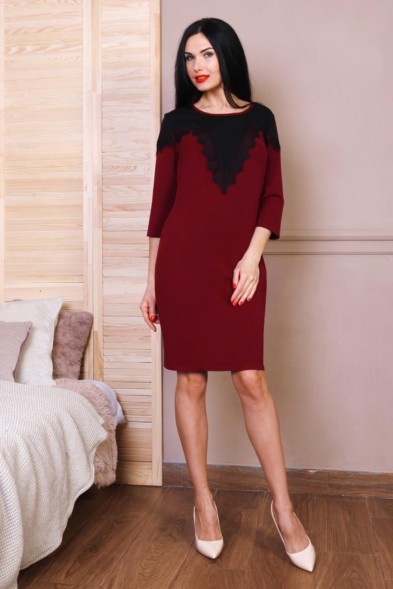 Платье полубатал 768-03 цвет бордовый
