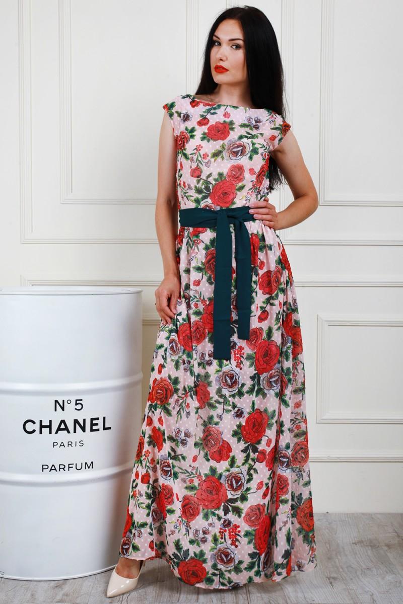 Платье 698-01 цвет пудровый