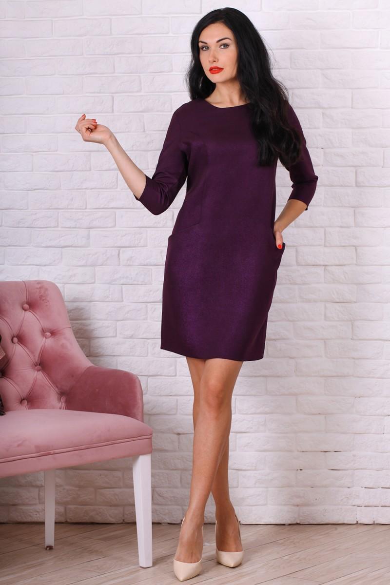 Платье полубатал 758-04 цвет сливовый
