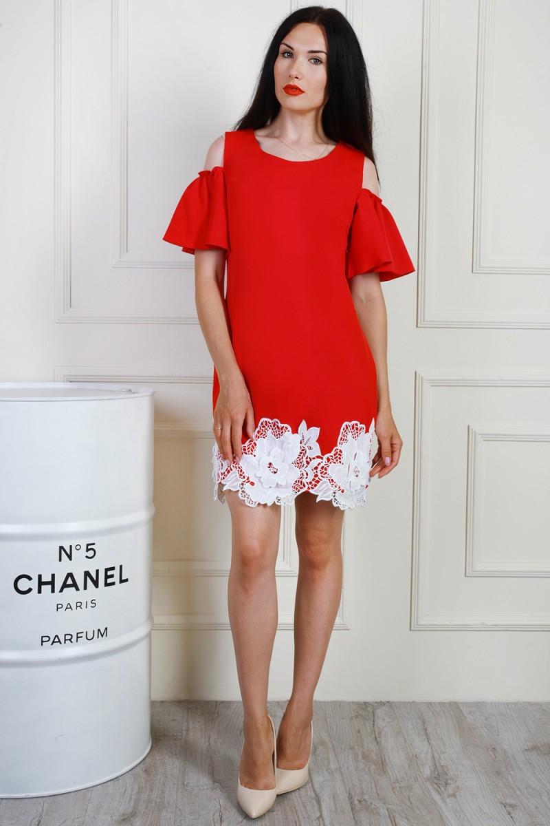 Платье 699-01 цвет красный