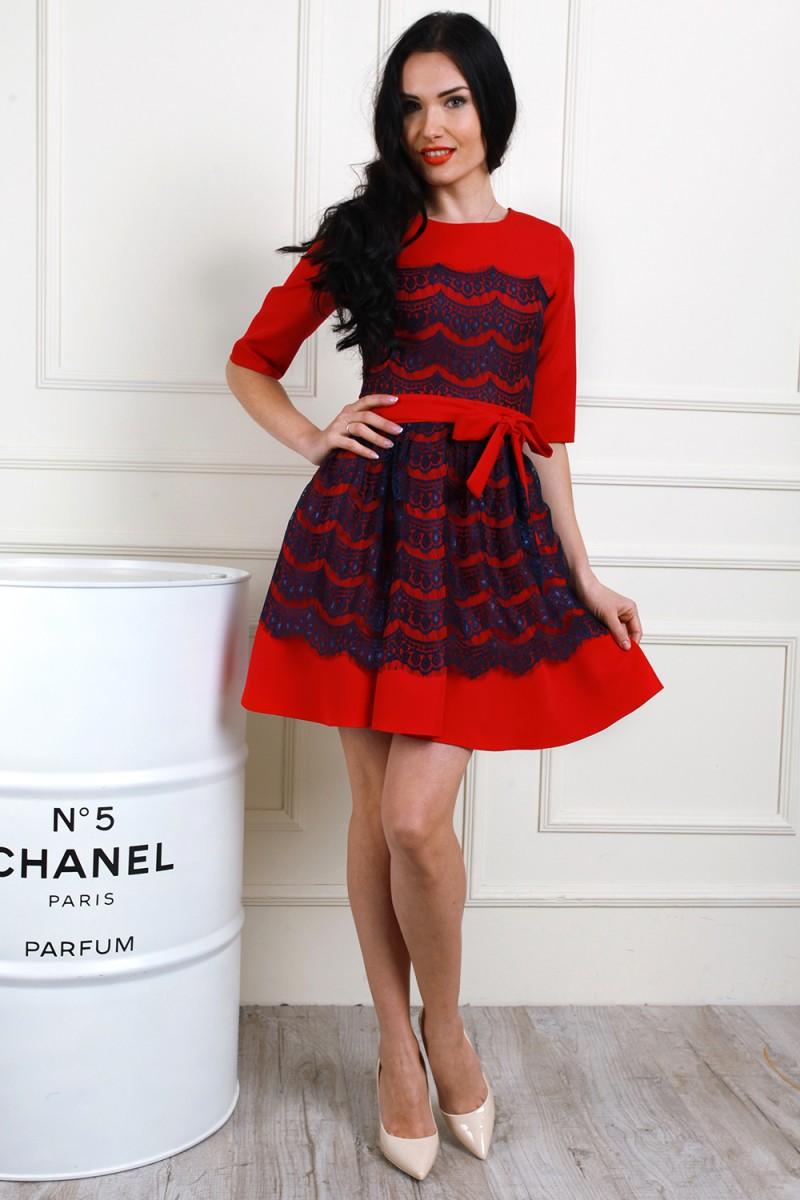 Платье 655-03 цвет красный/синий