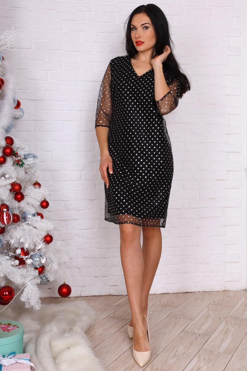 Платье полубатал 761-02 цвет черный