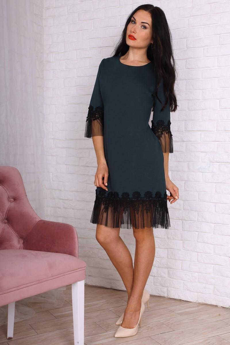 Платье 755-02 цвет бутылочный