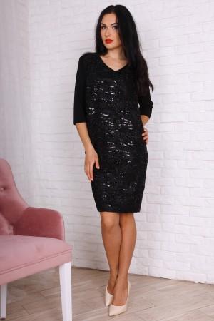 Платье полубатал 757-01 цвет черный