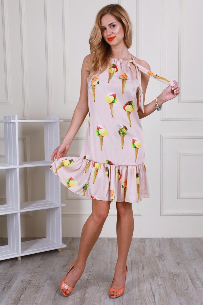 Платье 595-02 цвет бежевый