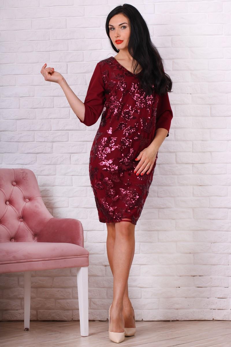 Платье полубатал 757-03 цвет марсал