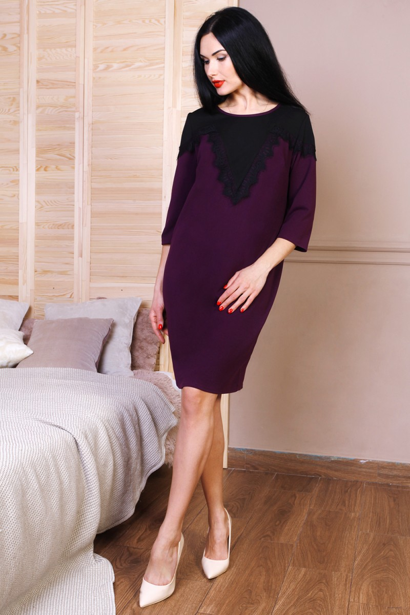 Платье полубатал 768-01 цвет марсал