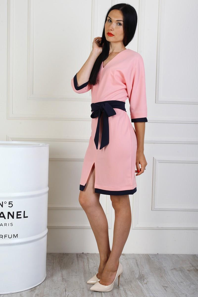 Платье полубатал 714-01 цвет пудра
